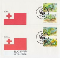 TONGA 1990 WWF 2 Envelopes FLAGS OF THE NATIONS. - Zonder Classificatie