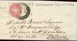 45505 Italia, Lombardo Veneto Comunicaz. 6.1.1866  Da Montagnana A Padova - ...-1850 Préphilatélie