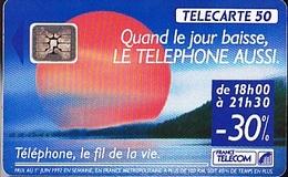 FRANCE TELECOM De 06/1992   Soleil Rouge  50 Unités     Tirage  1 000 000 Exemplaires - Telecom Operators