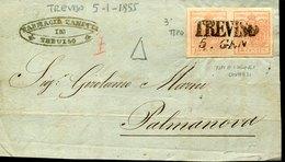 45507 Italia, Lombardo Veneto Comunicaz.5.1.1855 Da Treviso A Palmanova, Farmacia Zanetta Treviso - ...-1850 Préphilatélie