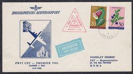 Yugoslavia 1960 First Flight From Zagreb To Rome, Commemorative Cover - Luftpost