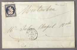 France N°14 Sur Lettre - Teinte Bleu Noir Ou Bleu Très Foncé ?? TAD St AFRIQUE 1856 - (B2243) - 1849-1876: Periodo Classico