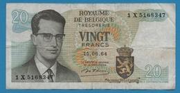 BELGIQUE 20 FRANCS 15.06.1964 # 1X5168347  P# 138  Signature: D'Haeze - 20 Francs
