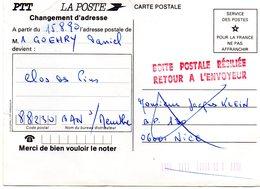 """GRIFFE ROUGE  """"BOITE POSTALE RÉSILIÉE / RETOUR A L'ENVOYEUR""""  -  Rare - Document A Souffert Au Centre De Tri - Marcophilie (Lettres)"""