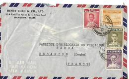 Enveloppe Commerciale Avion / SIAM Bangkok / Henry CHAN & Co / Timbres Siam, Thailande - Siam