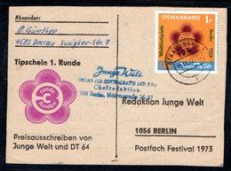 DDR Spendenmarke 1 Auf Karte Gestempelt, Mi. 90 €. - DDR