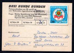 DDR Spendenmarke 30 Jahre DDR Auf Karte Gestempelt. - DDR