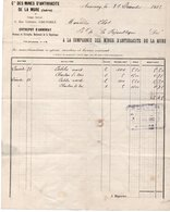FACTURE COMPAGNIE DES MINES D'ANTHRACITE DE LA MURE - ISERE -ANNEE 1912 - Other