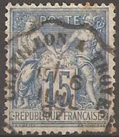 """FR90U8 - 1877/98 France, """"Sage-Type II"""", N. 90, 15c. Bleu, Oblitéré - 1876-1898 Sage (Type II)"""
