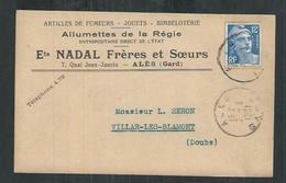 France. Carte Postale Publicitaire Nadal Alès (Gard) Articles De Fumeurs, Jouets, Bimbeloterie ,allumettes De La Régie - Marcophilie (Lettres)