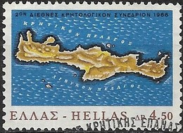 GREECE 1966 Centenary Of Cretan Revolt - 4d.50 - Map Of Crete FU - Griechenland