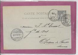 CARTE POSTALE Type Sage 10 Cts ( De Besançon à Chaux De Fonds ) - Postmark Collection (Covers)