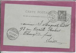 CARTE POSTALE Type Sage 10 Cts ( Besançon à Chaux De Fonds  ) - Postmark Collection (Covers)
