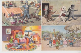 SIXTEEN OLD POSTCARDS -    CAT - CAT AS HUMAN BEING - Katzen
