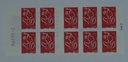 3744-C 9 Avec Numéro De Liasse  Carnet 10 Timbres Marianne De LAMOUCHE - Usage Courant