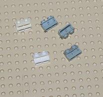 Lego Lot 5x Charnière Brique 1 X 2 Base Et Dessus Même Couleur Gris Et Blanc Complète Ref 3937c01 (3937/3938) - Lego Technic