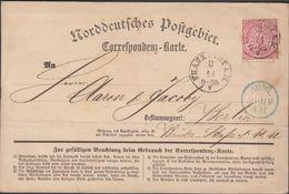 1870. NORDDEUTSCHER POSTBEZIRK.  3 DREI KREUZER. FRANKFURT A.M. 3 11. Correspondenz-K... () - JF317537 - Conf. De Alemania Del Norte
