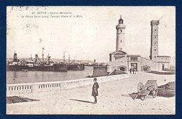 34. Sète (Cette). Le Môle Saint-Louis. Port De Plaisance. Ancien Et Nouveau Phares. 1921 - Sete (Cette)