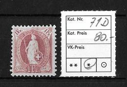 1882 - 1906 STEHENDE HELVETIA Gezähnt →  SBK-71D*   ►Verzähnung Gegen O.l.◄ - Neufs