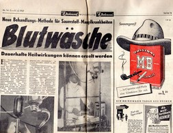 1 Page Recto-Verso Du Journal Allemand ( BLUTWASCHE ) De L'Actualité Speciale Du 11-04-1957 - Revues & Journaux