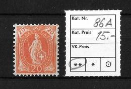 1882 - 1906 STEHENDE HELVETIA Gezähnt →  SBK-86A** - Neufs