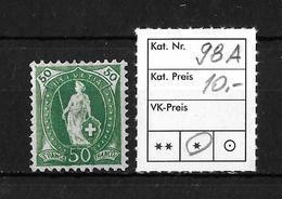 1882 - 1906 STEHENDE HELVETIA Gezähnt →  SBK-98A* - Unused Stamps