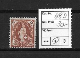 1882 - 1906 STEHENDE HELVETIA Gezähnt →  SBK-68D* - Unused Stamps