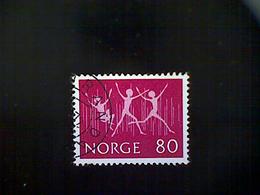 "Norway (Norge), Scott #592, Used (o), 1972, Youth Stamp Exhibition, ""Joy"", 80ø, Bright Magenta - Norway"
