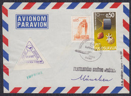 """Yugoslavia 1967 First Flight """"Lufthansa"""" From Zagreb To Munich To Frankfurt, Airmail Letter - Luftpost"""