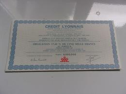 CREDIT LYONNAIS (obligation 17,6% De 5000 Francs) Octobre 1981 - Shareholdings