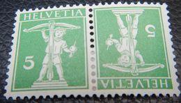 Schweiz Suisse 1910: Fils De Tell-Knabe Kehrdruck Téte-bêche Zu K3 Mi K5 * Falzspur  MLH (Zu CHF 40.00 - 50%) - Tete Beche
