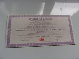 CREDIT LYONNAIS (obligation Taux Variable De 5000 Francs) Octobre 1981 - Shareholdings