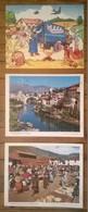 Lot De 3 Puzzles Publicitaires LUSTUCRU Chèque Chic / Ferme , Villages De Mostar Et Pisac + Enveloppe 1983 - Puzzles