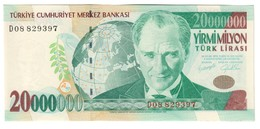 Turkey 20000000 Lirasi 2001 AUNC - Turchia