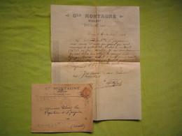 Facture + Enveloppe Pub 1901 Cle Montagné Négociant à Dourgne Tarn - France