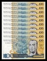 Brasil Lot Bundle 10 Banknotes 100 Cruzados 1986-1988 Pick 211b Sign 24 SC- AUNC - Brasil