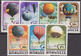 Mongolia 1982 Volo Air Balloon Set MNH - Trasporti