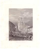 Vers 1850 - Gravure Sur Acier - Nîmes (Gard) - La Cathédrale - FRANCO DE PORT - Estampes & Gravures