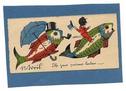 Mignonette 1er AVRIL - Ils Vous Porteront Bonheur - Chat, Poissons, Parapluie Bleu - 1° Aprile (pesce Di Aprile)
