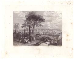 Vers 1850 - Gravure Sur Acier - Nîmes (Gard) - Vue Générale - FRANCO DE PORT - Estampes & Gravures
