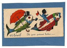 Mignonette 1er AVRIL - Ils Vous Porteront Bonheur - Chat, Poissons, Parapluie Rouge - 1° Aprile (pesce Di Aprile)