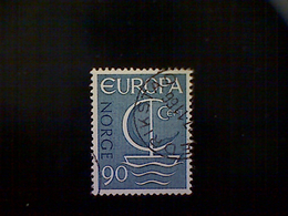 Norway (Norge), Scott #497, Used (o), 1966, Europa Common Design Series, Sailboat, 90ø, Blue Gray - Norway