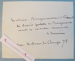 Billet Autographe Antonin MERCIE Peintre Sculpteur - Bouguereau - Vincens - Né à Toulouse - Autographes