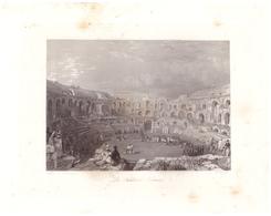 Vers 1850 - Gravure Sur Acier - Nîmes (Gard) - Les Arènes - FRANCO DE PORT - Estampes & Gravures