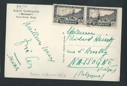 Carte Postale Envoyée De Dakar Au Peintre Liégeois Richard Heintz, à Nassogne. Navire Marcator. Voir Dos. 2 Scans - Vieux Papiers