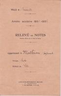 BULLETIN SCOLAIRE RELEVE DE NOTES ANNEE SCOLAIRE 1936 1937 - ECOLE DES FILLES ROMAINVILLE - VOIR LOI 1882 AU DOS - Diploma & School Reports