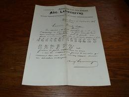 FF6  Document Commercial Facture Aug Lauwereyns Verreries Flaconnage Pour Pharmaciens Ixelles 1903 - Belgique