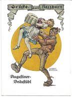 3081p: Werbe- AK Augustiner- Bräustübl Salzburg, Um 1950 (Motiv Bier) - Advertising