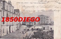 TORRE DEL GRECO - CAPO TORRE E VILLA ASCIONE F/PICCOLO VIAGGIATA ANIMATA - Torre Del Greco