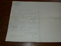 FF6  Document Commercial Facture Pharmacie H Lefebvre Gilly Haies 1904 - Belgique